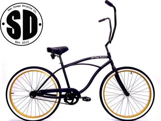 """Men's Garnet Chopper Matte Black w Gold Rims & White Walls """"San Diego Bicycle Co."""""""