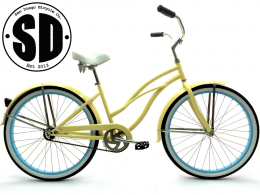 "Women's Garnet - Vanilla w Baby Blue ""San Diego Bicycle Co."" Beach Cruiser"