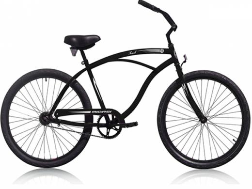 "Mens Matte Black ""Micargi Bicycles"" Beach Cruiser"