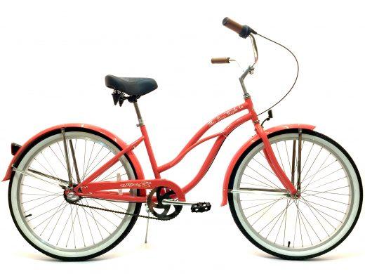 "Ladies Garnet 3 Speed Coral w Silver Rims ""San Diego Bicycle Co."""