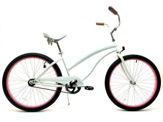 "Ladies Beach Babe Cruiser Pearl White w Pink Rims ""San Diego Bicycle Co"""