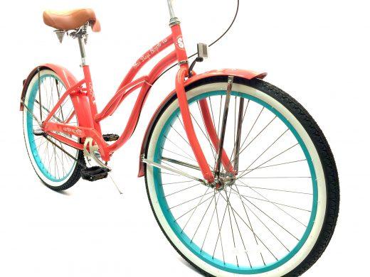 """Ladies Garnet 3 Speed Coral w Celeste Rims """"San Diego Bicycle Co."""""""