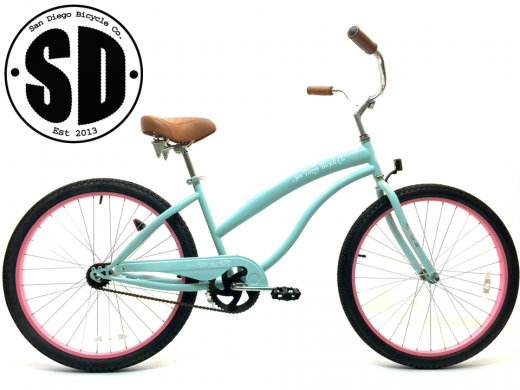 "Ladies Beach Babe Cruiser Misty Green w Pink Rims ""San Diego Bicycle Co"""