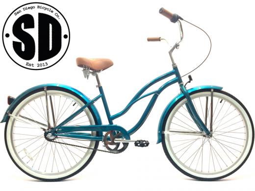 "Ladies Garnet 3 Speed Turquoise w Silver Rims ""San Diego Bicycle Co."""
