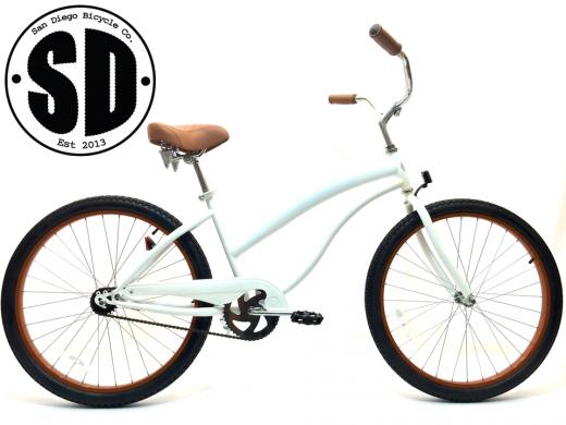 "Ladies Beach Babe Cruiser Pearl White w Brown Rims ""San Diego Bicycle Co"""