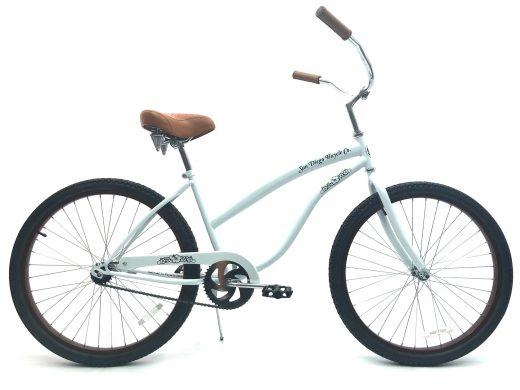 """Ladies Beach Babe White w Brown Rims """"San Diego Bicycle Co"""""""