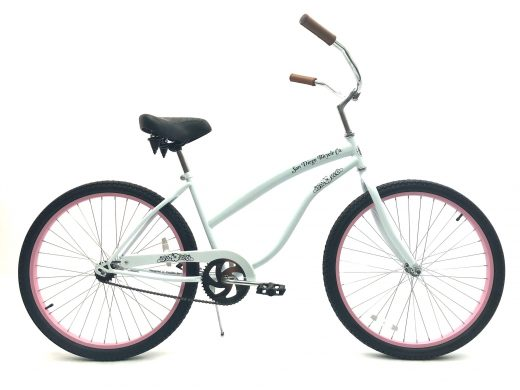 """Ladies Beach Babe White w Pink Rims """"San Diego Bicycle Co"""""""