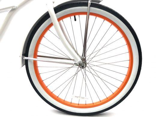 "Ladies Garnet - Pearl White with Orange Rims ""San Diego Bicycle Co."""