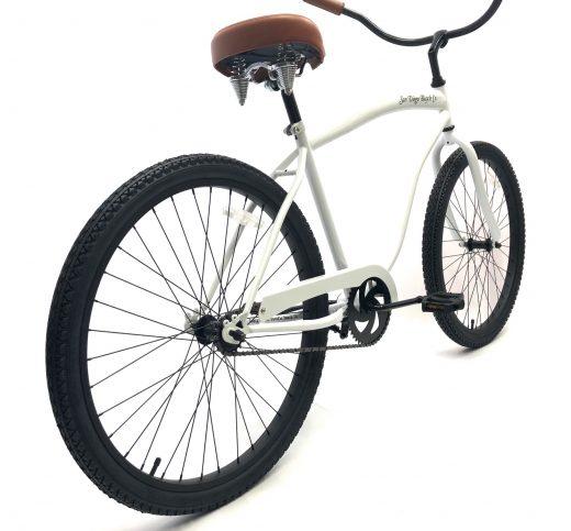 """Beach Bum Cruiser- Pearl White w Brown """"San Diego Bicycle Co."""""""