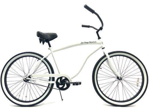 "Beach Bum Cruiser- Pearl White w White Walls ""San Diego Bicycle Co."""