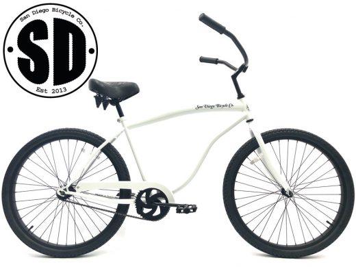 """Beach Bum Cruiser- Pearl White """"San Diego Bicycle Co."""""""