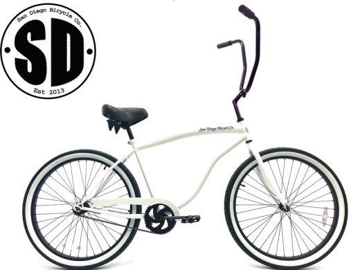 """Chopper Beach Bum Cruiser- Pearl White """"San Diego Bicycle Co."""""""