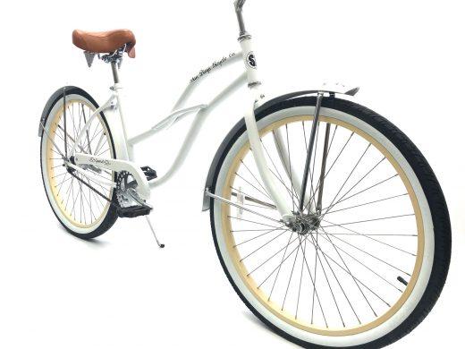 "Ladies Garnet - Pearl White with Vanilla Rims ""San Diego Bicycle Co."""