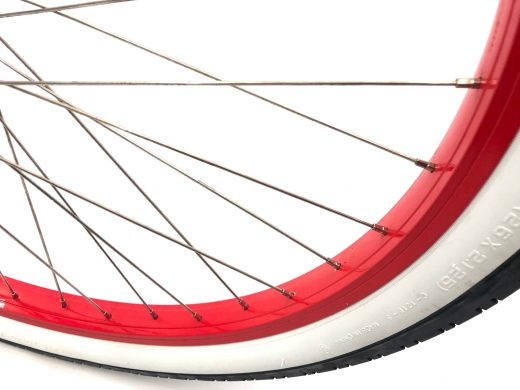 """Ladies Garnet - Pearl White with Red Rims """"San Diego Bicycle Co."""""""