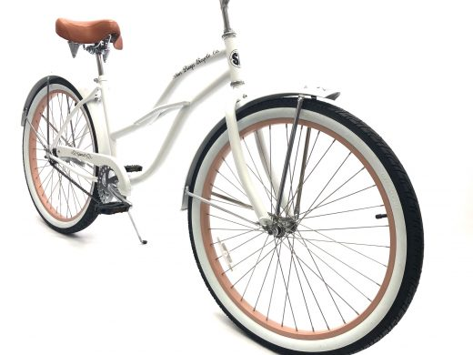 """Ladies Garnet - Pearl White with Rose Gold Rims """"San Diego Bicycle Co."""""""