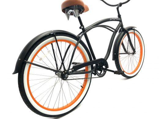 "Men's Garnet Matte Black w Orange Rims ""San Diego Bicycle Co."""