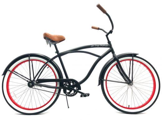 "Men's Garnet Matte Black w Red Rims Brown White Walls ""San Diego Bicycle Co."""