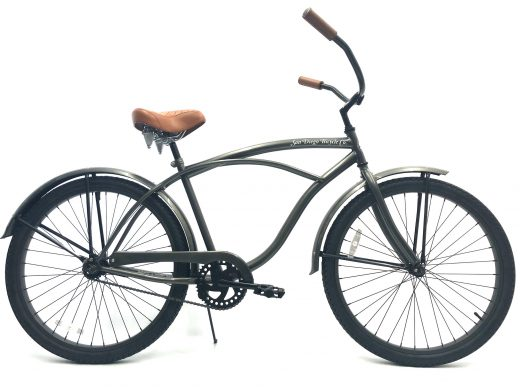 "Men's Garnet Glossy Grey w Brown ""San Diego Bicycle Co."""