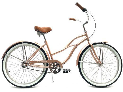 "Ladies Garnet 3 Speed Rose Gold ""San Diego Bicycle Co."" Beach Cruiser"