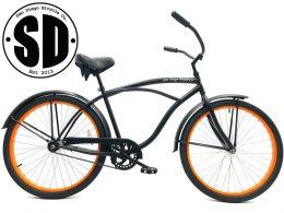 "Men's Garnet Matte Black w Orange Rims Beach Cruiser ""San Diego Bicycle Co."""
