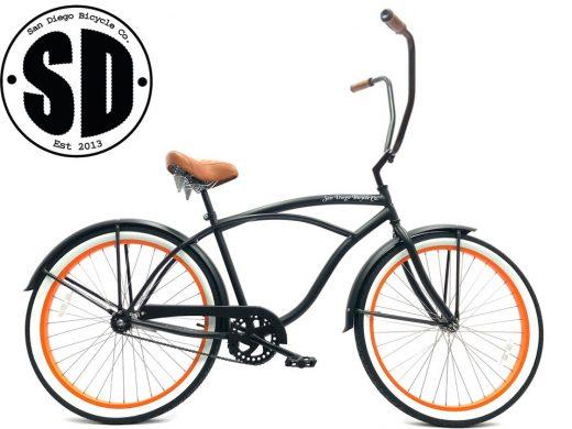 """Men's Garnet Chopper Matte Black w Orange Rims """"San Diego Bicycle Co."""""""