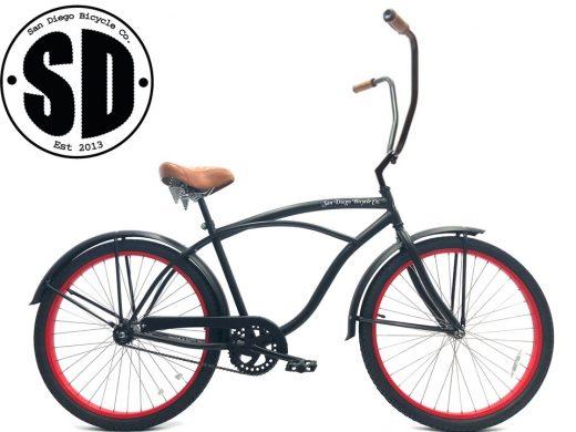 """Men's Garnet Chopper Matte Black w Red Rims """"San Diego Bicycle Co."""""""