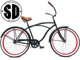 "Men's Garnet Matte Black w Brown & Red Rims ""San Diego Bicycle Co."""
