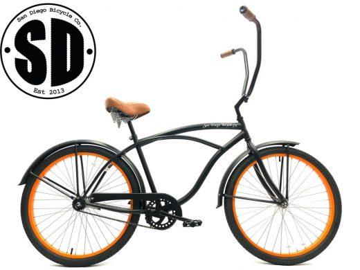 "Men's Garnet Chopper Matte Black w Orange Rims Beach Cruiser ""San Diego Bicycle Co."""