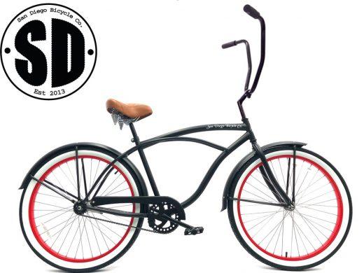 "Men's Garnet Chopper Matte Black w Red Rims Brown White Walls Beach Cruiser ""San Diego Bicycle Co."""