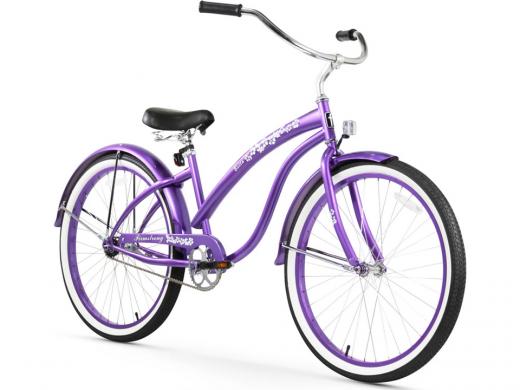 Firmstrong Bella Classic Single Speed - Women's 26 Beach Cruiser Bike Purple