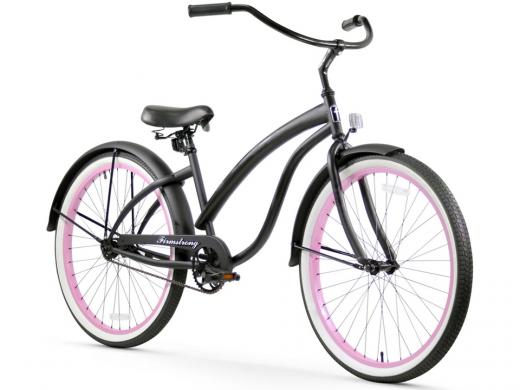 Firmstrong Bella Fashionista 1 Speed - Women's 26 Beach Cruiser Bike Matte Black with Pink Rims