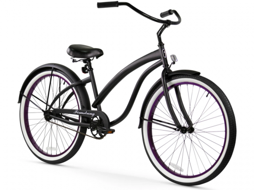 Firmstrong Bella Fashionista 1 Speed - Women's 26 Beach Cruiser Bike Matte Black with Purple Rims