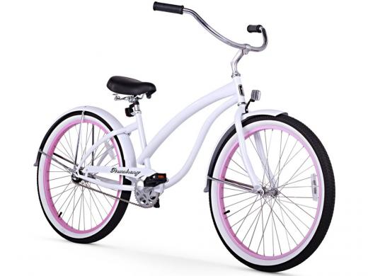 Firmstrong Bella Fashionista 1 Speed - Women's 26 Beach Cruiser Bike White with Pink Rims
