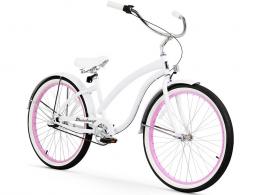 "Firmstrong Bella Fashionista 3 Speed White - Women's 26"" Beach Cruiser Bike"