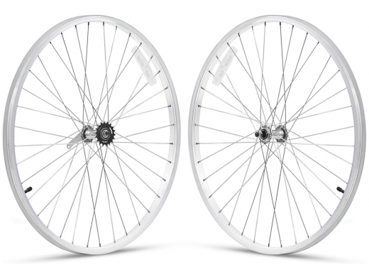 26 inch White Beach Cruiser Wheel Set