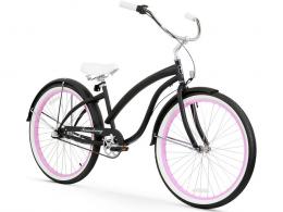 Firmstrong Bella Fashionista 3 Speed - Women's 26 Beach Cruiser Bike Matte Black with Pink Rims